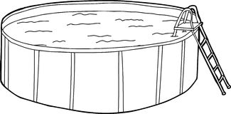 Above Ground Pool Outline. Outline cartoon of swimming pool with ladder Royalty Free Stock Photos