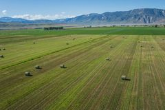 Above Hay Field in American West Stock Photos
