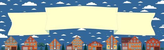 Above the houses develops banner for your text Stock Photography