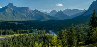 Above the kananaskis river and golf course stock images