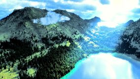 Above lake in mountains Royalty Free Stock Images