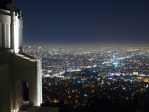 Above Los Angeles. Griffith Park Observatory, famous Los Angeles city owned landmark Royalty Free Stock Images