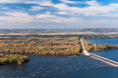 Above Mississippi River and Dam at Alma stock images