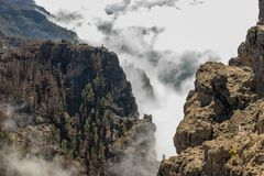 Above the Misty Clouds. Caldera Gran Canaria stock images
