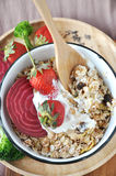 Above of Muesli Bowl with Wooden Spoon Royalty Free Stock Images