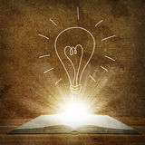 Above an open book is a sketch bulbs Royalty Free Stock Photo