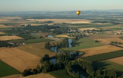 Above Oregon. Hot air ballooning over Oregon farmland stock images