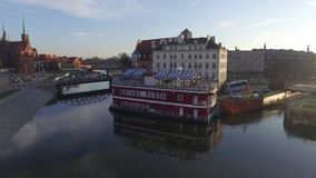 Above the riwer in wroclaw stock video footage