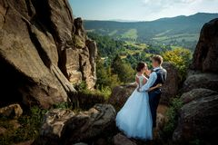 Above romantic portrait of the newlyweds. The handsome groom softly stroking the cheek of the bride while standing on. The mountains at the background of the Royalty Free Stock Photos