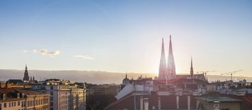 Above the roofs of Vienna - with the Votive church at sunset stock photo