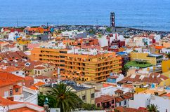 Puerto de la Cruz, Spain, 02/05/2015 - An overview of the downtown area from an elevated location stock image