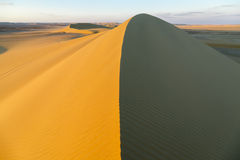 Above Sand Dune. Sand dune at sunset in the desert of Fayoum, Egypt Stock Photos