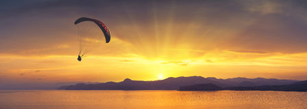 Above the sea against bright colorful sunset Royalty Free Stock Photography