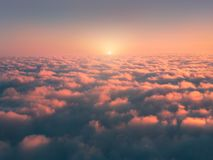 Above sea of fog. At sunrise stock photography