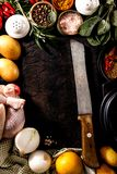Arranged fresh ingredients for dinner cooking Stock Images