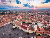 Above Sibiu city in Transylvania, Romania at sunset Royalty Free Stock Photo