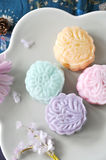 Above of Snow Skin Mooncake Dish Royalty Free Stock Photography