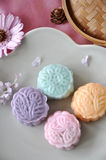 Above of Snow Skin Mooncake on Plate Stock Photos