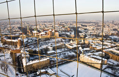 Above Snowed Krakow. View of Krakow (Poland) in winter from a balloon Royalty Free Stock Images