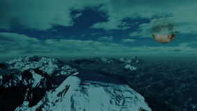 Above Snowy Mountain, Time Lapse Clouds and full Moon, stock footage. Video stock footage