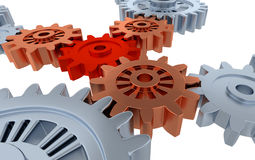 Above Some Silver Gears and One Small Red Gear Royalty Free Stock Image