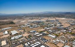 Above South Tucson, Arizona looking to the southwest at the airport and Green Valley Stock Image