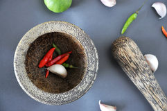 Above of Spices in Mortar Stock Images