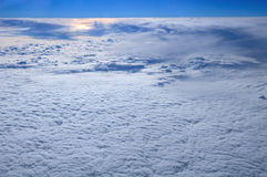 Above Sunset. Cute cloudscape with sunset viewed from a plane Stock Photo