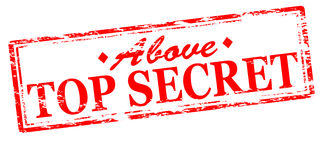 Above top secret. Rubber stamp with text above top secret inside,  illustration Royalty Free Stock Image