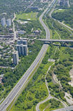 Above Toronto - Don Valley Parkway. The Bloor Street viaduct crossing the Don Valley Parkway. Shot from just above the Don River in early summer Stock Image