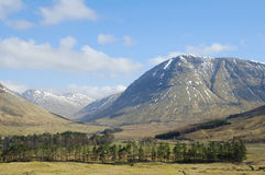 Above Tyndrum. View of hills near Tyndrum in highlands of Scotland light snow on hills looking towards west highland railway Stock Photos
