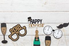 Above View Aerial Image Of DIY Photo Booth Props Decorations Happy New Year 2018