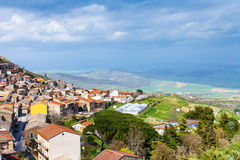 Above view of Aidone comune in Sicily in spring Stock Image
