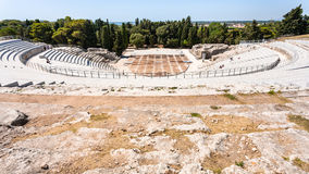 Above view of ancient Greek theater in Syracuse Royalty Free Stock Photography