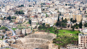 Above view of ancient Roman Theater in Amman city Royalty Free Stock Image