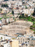 Above view of ancient Roman theater in Amman town Royalty Free Stock Photo