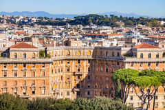 Above view of apartment houses in Rome city Stock Photo