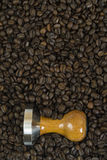 Above view on barista tool and coffee beans Royalty Free Stock Photos