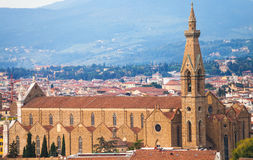 Above view of Basilica di Santa Croce in Florence Stock Photo