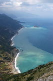 Above view of a beach. View of a beach from above in Evia, Greece Stock Photography