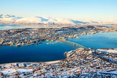 Tromso in Northern Norway. Above view of beautiful winter landscape of snow covered town Tromso in Northern Norway Stock Image