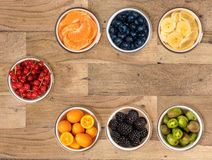 From above view of bowls of multiple fruits Royalty Free Stock Photo