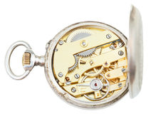 Above view of brass clockwork retro silver watch Royalty Free Stock Photos