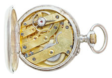 Above view of brass movement retro pocket watch Stock Image