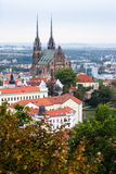 Above view of Brno city with Cathedral Royalty Free Stock Photo