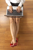 Above View Business Woman Typing Royalty Free Stock Image
