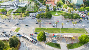 Above view car traffic on square in evening Royalty Free Stock Image