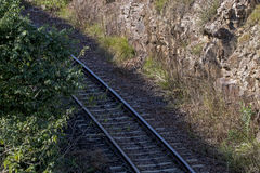 Above View of Cection of Railway Track and Sleepers Royalty Free Stock Photography