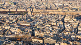 Above view of center of Paris city at sunset Royalty Free Stock Photography