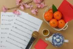 Above view Chinese & Lunar new year with music sheet notes concept royalty free stock images